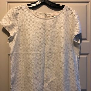 LOFT Metallic White Blouse